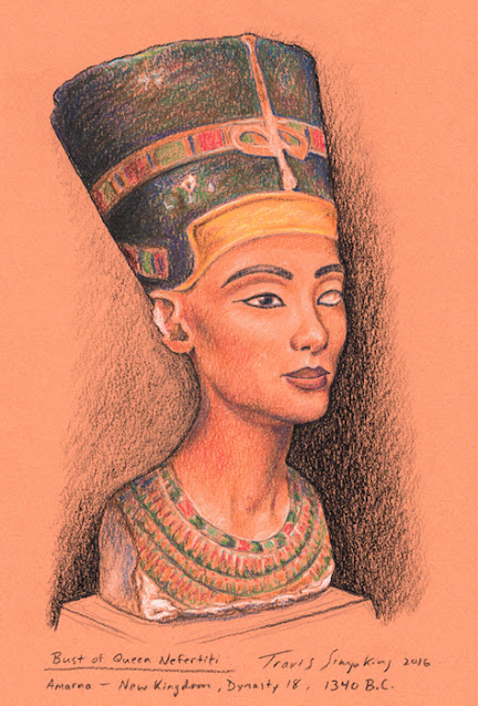 Bust of Queen Nefertiti. Ancient Egypt. The Egyptian Museum, Berlin. by Travis Simpkins