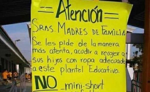 'No minishort, minifaldas y escotes', pide escuela a madres