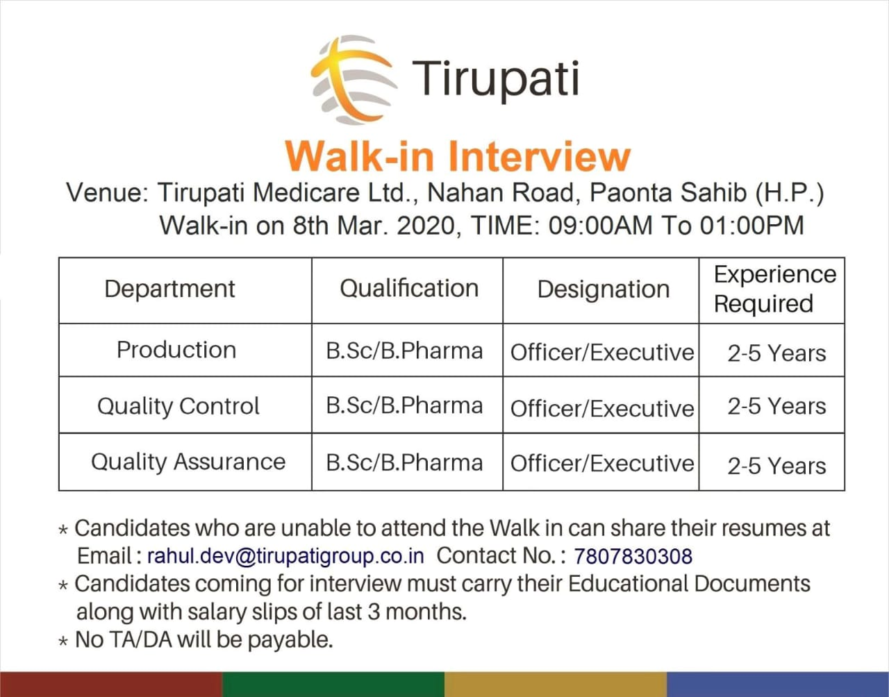 Tirupati Medicare Ltd – Walk in interview for Production, Quality Control, Quality Assurance on 8th March 2020