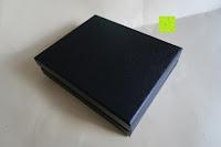 Box Rückseite: bupell Flache Portemonnaie mit herausnehmbarem Ausweisfach - Aus echtem Leder - Seitlichem Münzfach mit Reißverschluss - Schwarz