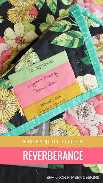 Handmade Quilt Label   Reverberance Quilt Pattern featuring Joy Fabrics by Tamara Kate Design for Michael Miller Fabrics   Shannon Fraser Designs   Modern Log Cabin Quilt