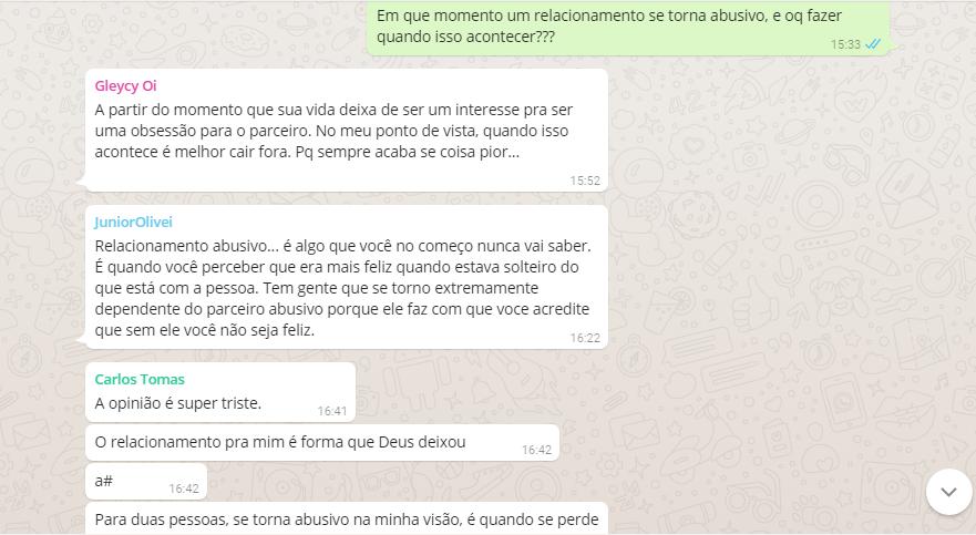 Debate no WhatsApp: O que faz um relacionamento ser abusivo? blog fala berenice