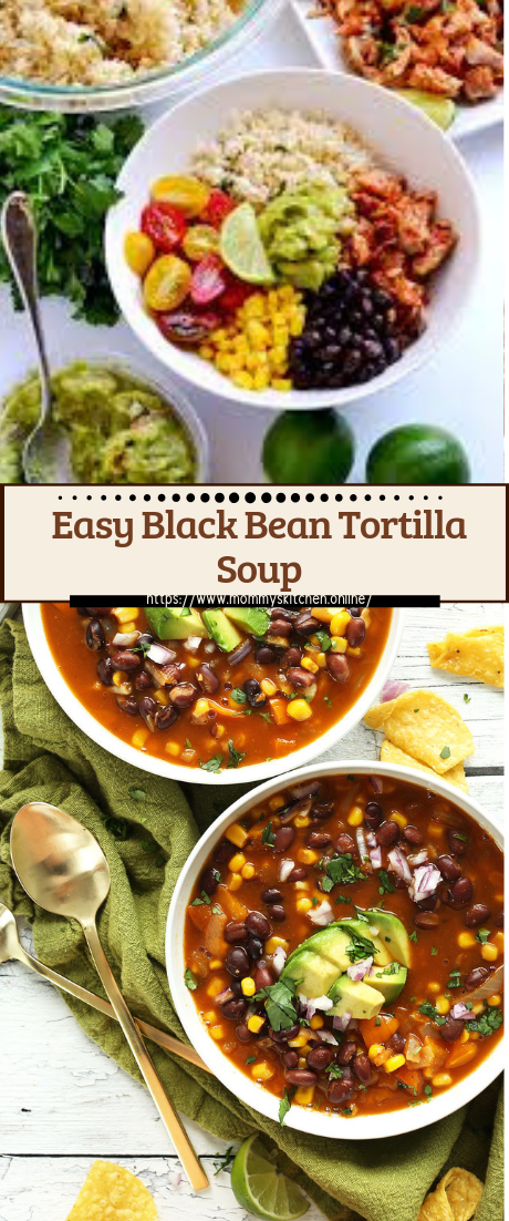 Easy Black Bean Tortilla Soup #vegan #vegetarian #soup #breakfast #lunch