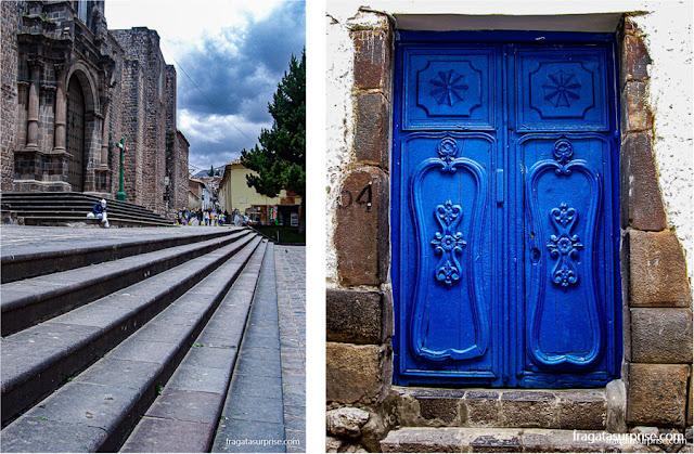A Igreja de São Francisco e uma porta cusqueña reunindo as paredes incas e os entalhes espanhóis