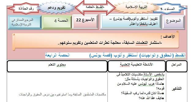 لأساتذة المستوى الخامس ابتدائي:جذاذات التربية الإسلامية المنهاج الجديد