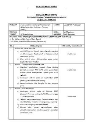 Sk Felda Redong Official Contoh Minit Curai