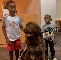 two boys pose on either side of a large sitting dog.