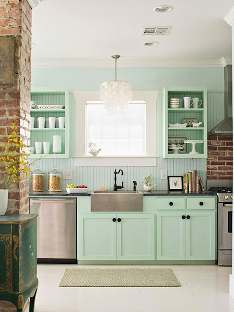 Color Forecast Pantone Spring 2014 Color Report Kitchen with Hemlock Cabinets Chandelier Mint Green Cabinets