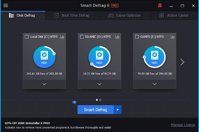 افضل برنامج لالغاء تجزئة القرص الصلب وتسريع جهاز الكمبيوتر Smart Defrag pro 6