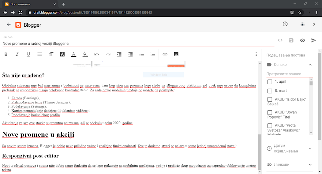 New blogger post/pages editor text/html