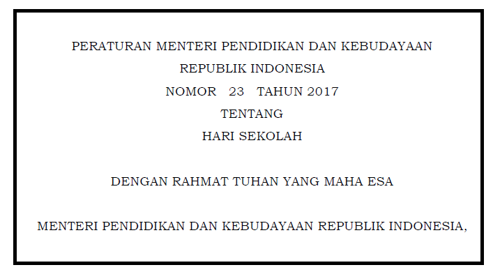 PERMENDIKBUD Nomor 23 Tahun 2017