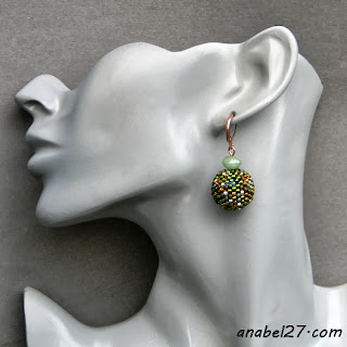 seed bead earrings beaded beads beadweaving green