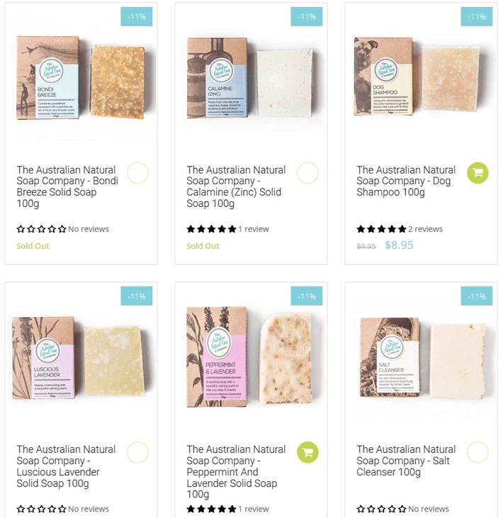 オーストラリアのナチュラル石鹸ブランド「The Australian Natural Soap Company」の石鹸の画像写真