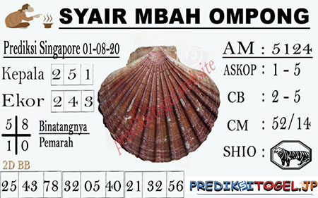 Syair Mbah Ompong SGP Sabtu 01 Agustus 2020