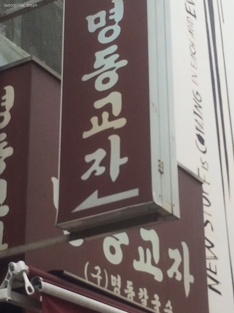 South Korea, Seoul, Myeongdong, YISS 2014, Myeongdong Gyoja sign