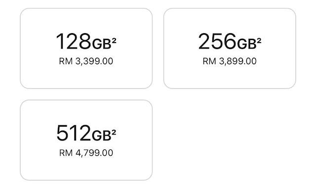 kapasiti dan harga iPhone 13 mini