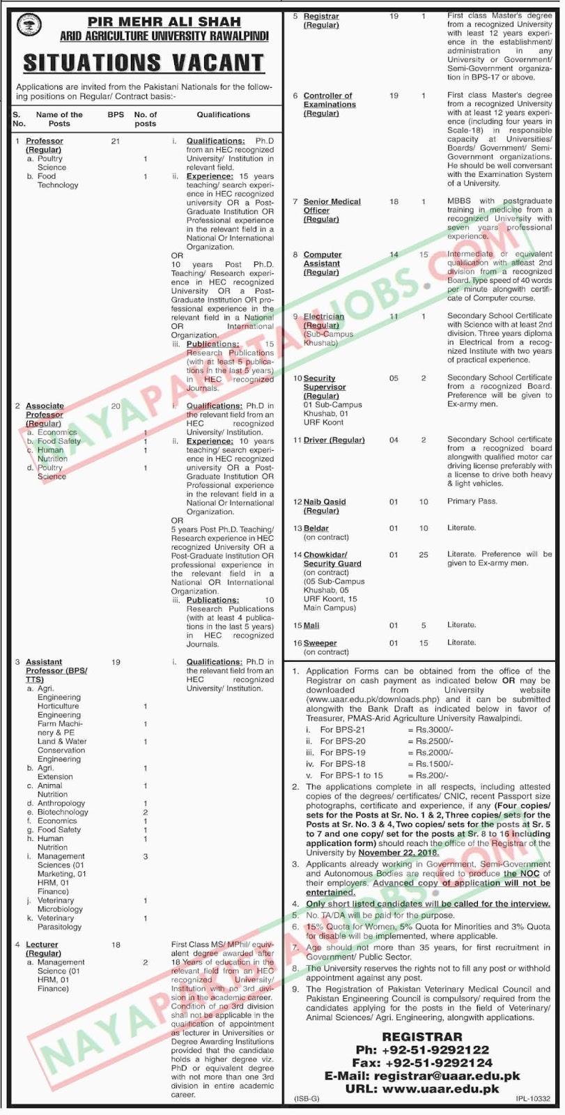 .Latest Vacancies Announced in Pir Mehar Ali Shah Arid Agriculture University 26 October 2018 - Naya Pakistan