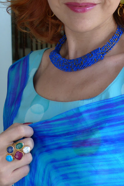 Glass beads necklace and Ottoman Hands multi stone ring