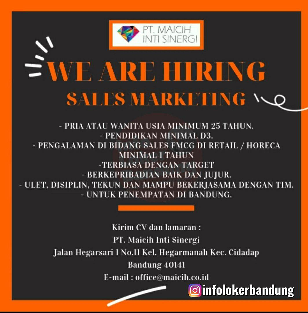 Lowongan Kerja Sales Marketing PT. Maicih Inti Sinergi Oktober 2019