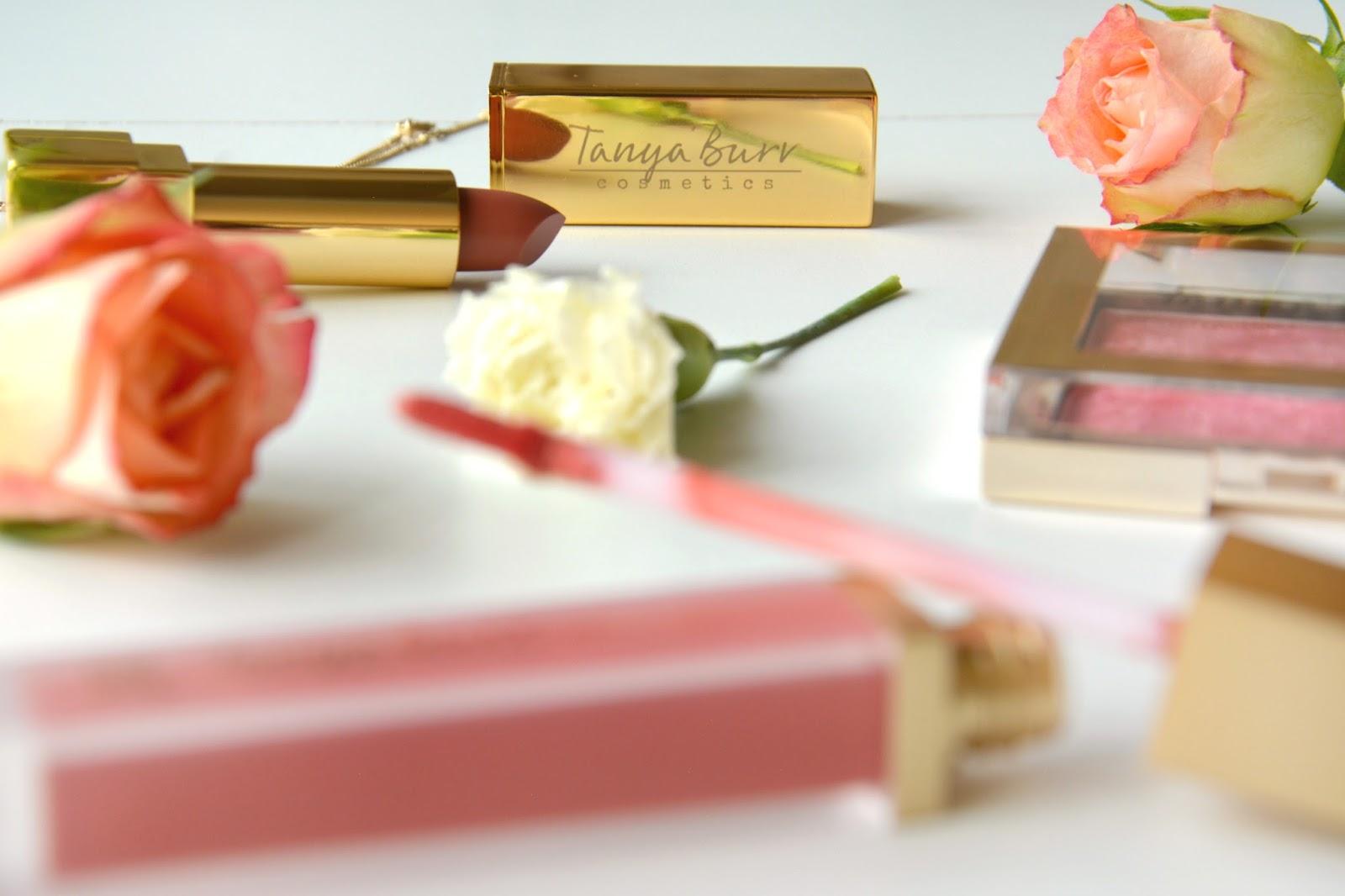 Tanya Burr Cosmetics Lipstick Pink Cocoa; Tanya Burr Cosmetics Soft Luxe Lip Gloss Martha Moo;Tanya Burr Cosmetics Illuminating Powder Peonies Please