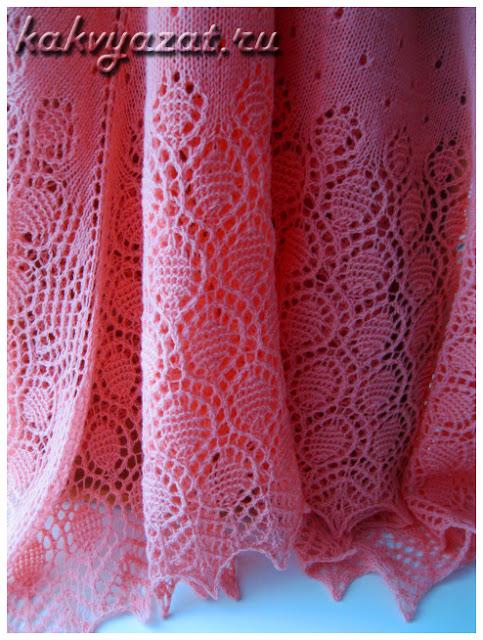 """Ажурная шаль спицами """"Капли росы"""" в розовом варианте."""
