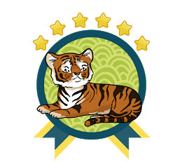 A cute tiger is sitting over a circle with two ribbons at the bottom like an award. There are six stars over the top of the circle.