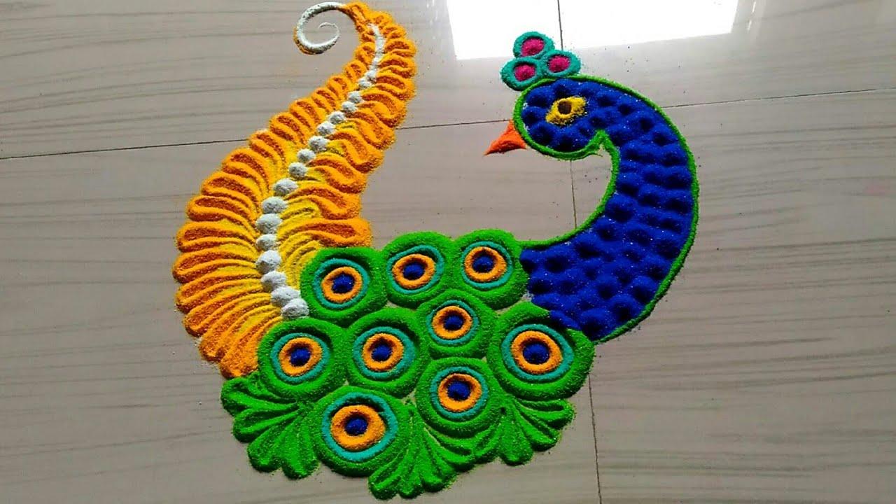 simple peacock rangoli designs