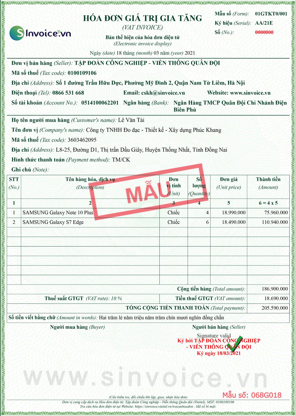 Mẫu hóa đơn điện tử số 068G018