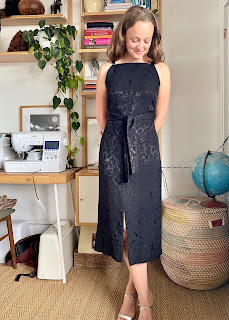 Black Jaquard Papercut Patterns Axis Dress