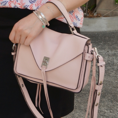 Rebecca Minkoff small Darren messenger bag in peony pastel pink with black pencil skirt | awayfromtheblue