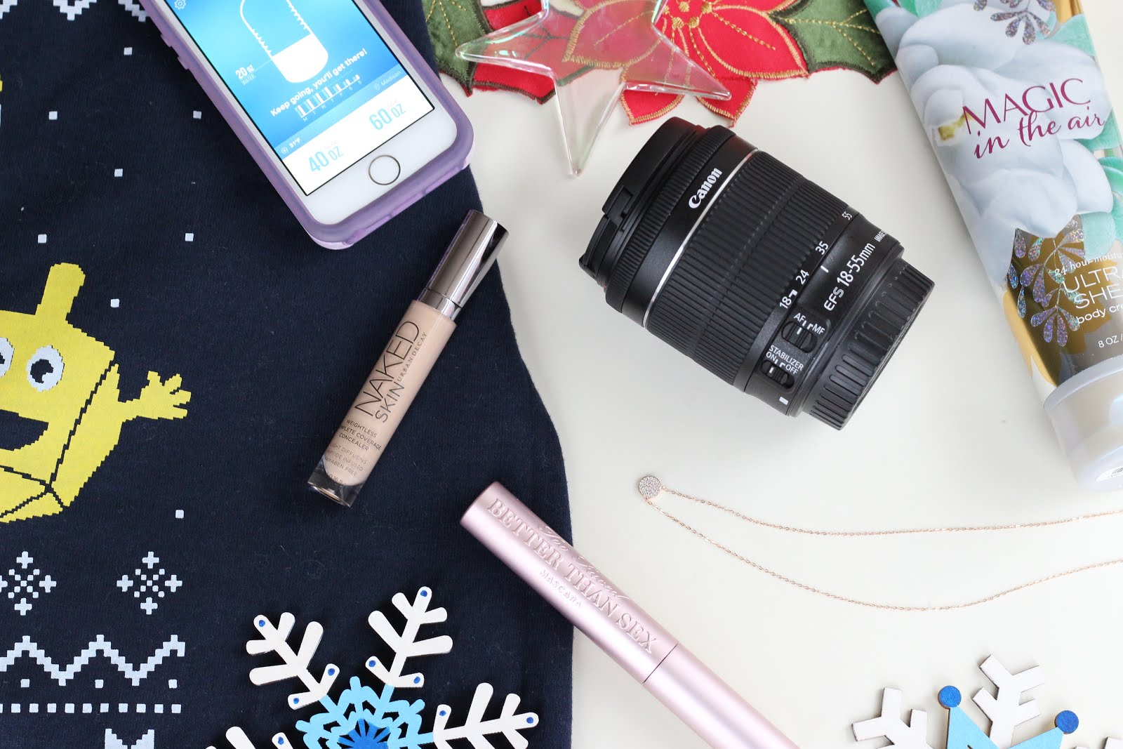 November Favorites: Hanukkah sweatshirt, Too Faced mascara, Urban Decay concealer, Canon Rebel SL1 camera