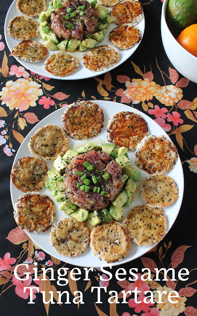Food Lust People Love: Ginger Sesame Tuna Tartare is a light and flavorful starter made with good quality tuna, marinated briefly in ginger, soy, sesame oil, rice vinegar and honey. Sprinkle on some black sesame seeds for color and crunch.