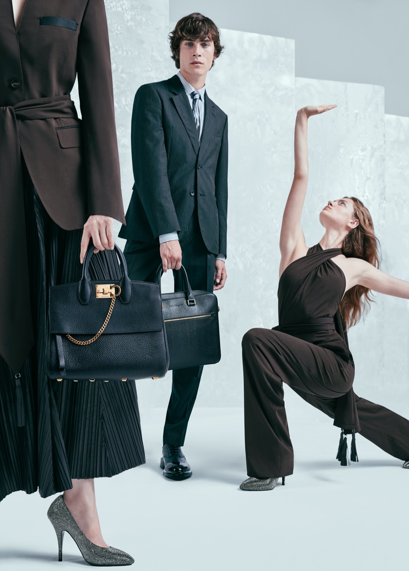 Liam Kelly and Nataliya Bulycheva pose for Salvatore Ferragamo Holiday 2019 campaign