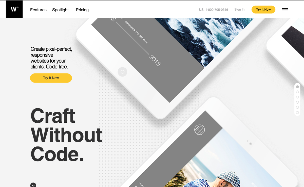 Web design example by Helvetica Neue Font