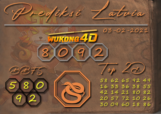 PREDIKSI TOGEL LATVIA WUKONG4D 03 FEBRUARY 2021