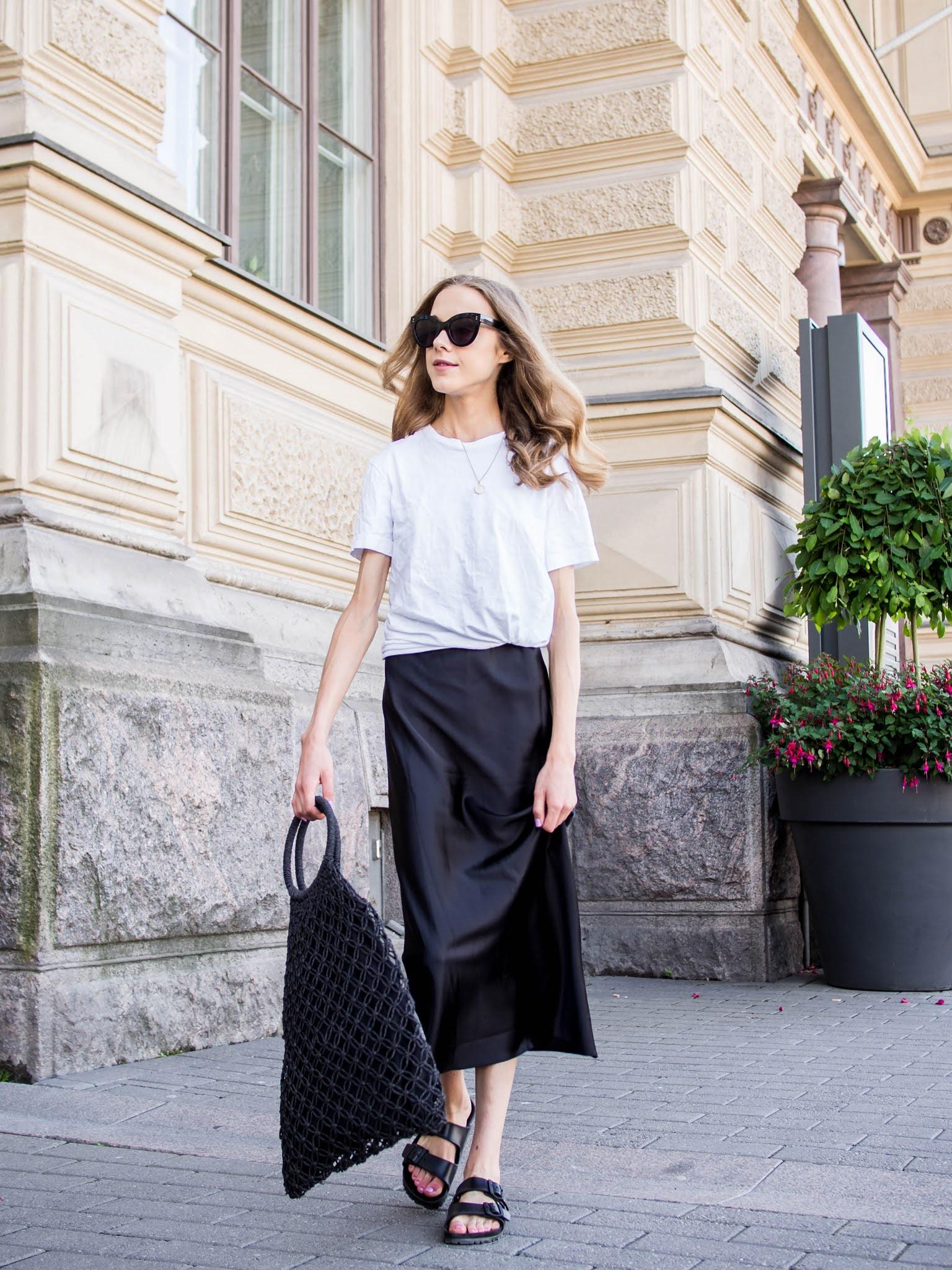 Black and white casual chic summer outfit - Mustavalkoinen rennon tyylikäs kesäasu