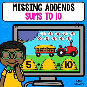 Missing addends first grade games