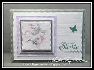 """Een condoleancekaartje met tekst """"heel veel Sterkte"""" en een klein vlindertje. A condolence card with text """"lots and lots of strength"""" and a small butterfly."""