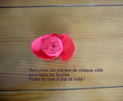 retourner la rose et la poser à plat