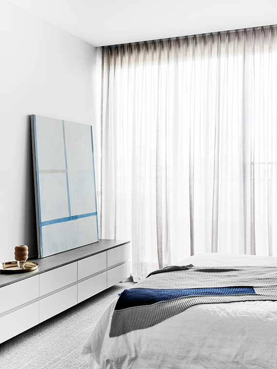 Bedroom| Hampton Penthouse. Interior design by Huntly, photo by Brooke Holm