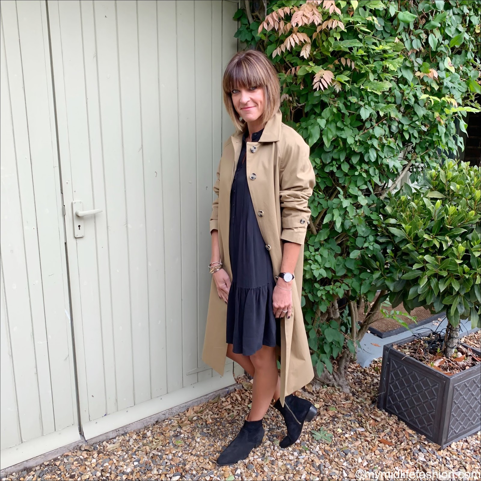 my midlife fashion, marks and Spencer car coat, iro suede pointed ankle boots, marks and Spencer pin tuck relaxed mini dress
