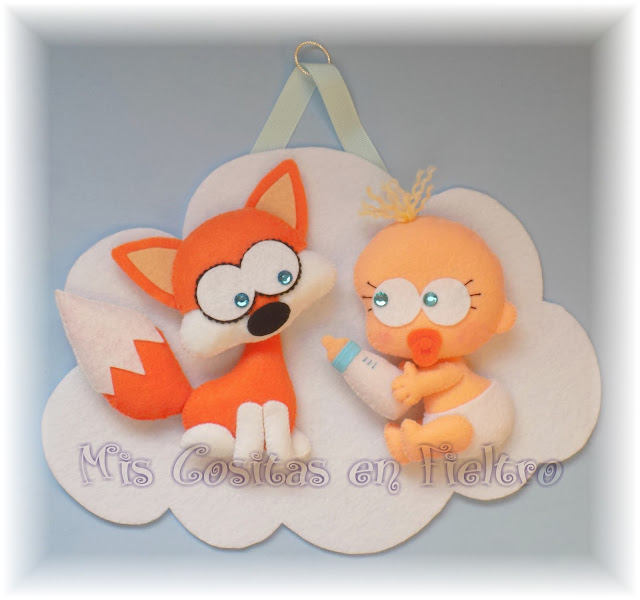bebé, decoración, baby, animal, cloud, felt, fieltro, nube, adorno de fieltro, niños, habitación, zorro, raposo, fox