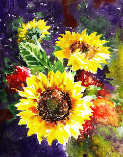 Impressionistic Sunflowers watercolor painting by the artist Irina Sztukowski