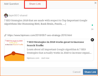 Share Link on Quora to Drive traffic to blog