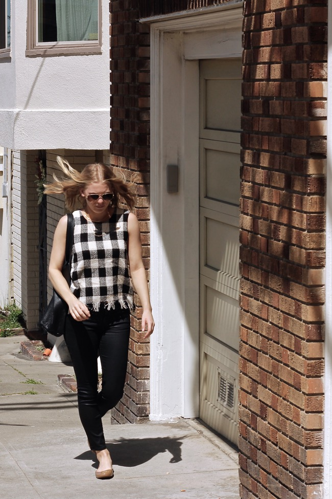 Shae Roderick, zara, top, fringe, check, outfit, style, SF blogger,
