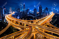 Shanghai elevated road junction and interchange overpass at night, Shanghai China (Credit: 123RF.com)Click to Enlarge.Shanghai elevated road junction and interchange overpass at night, Shanghai China (Credit: 123RF.com) Click to Enlarge.