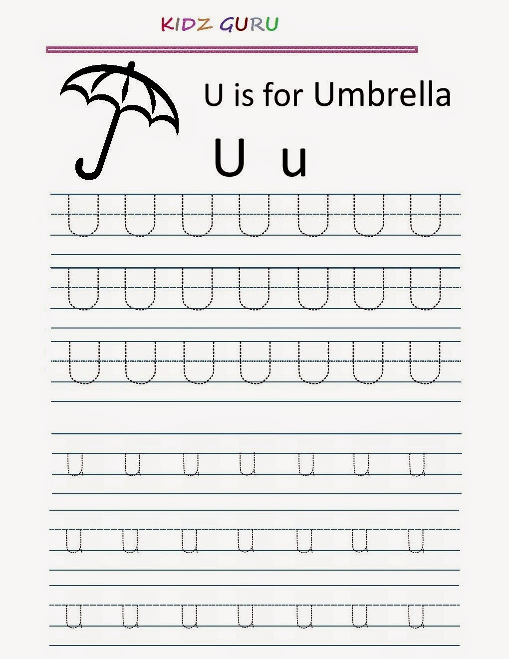 kindergarten worksheets printable tracing worksheet alphabet u u. Black Bedroom Furniture Sets. Home Design Ideas