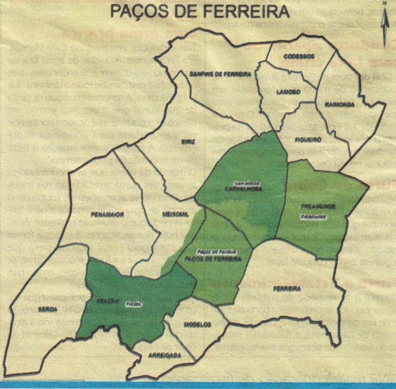 paços de ferreira mapa Freamundense: Concelho de Paços de Ferreira vai perder sete freguesias paços de ferreira mapa