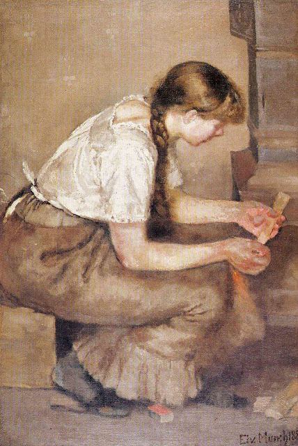 Эдвард Мунк - Девушка разжигает плиту. 1883