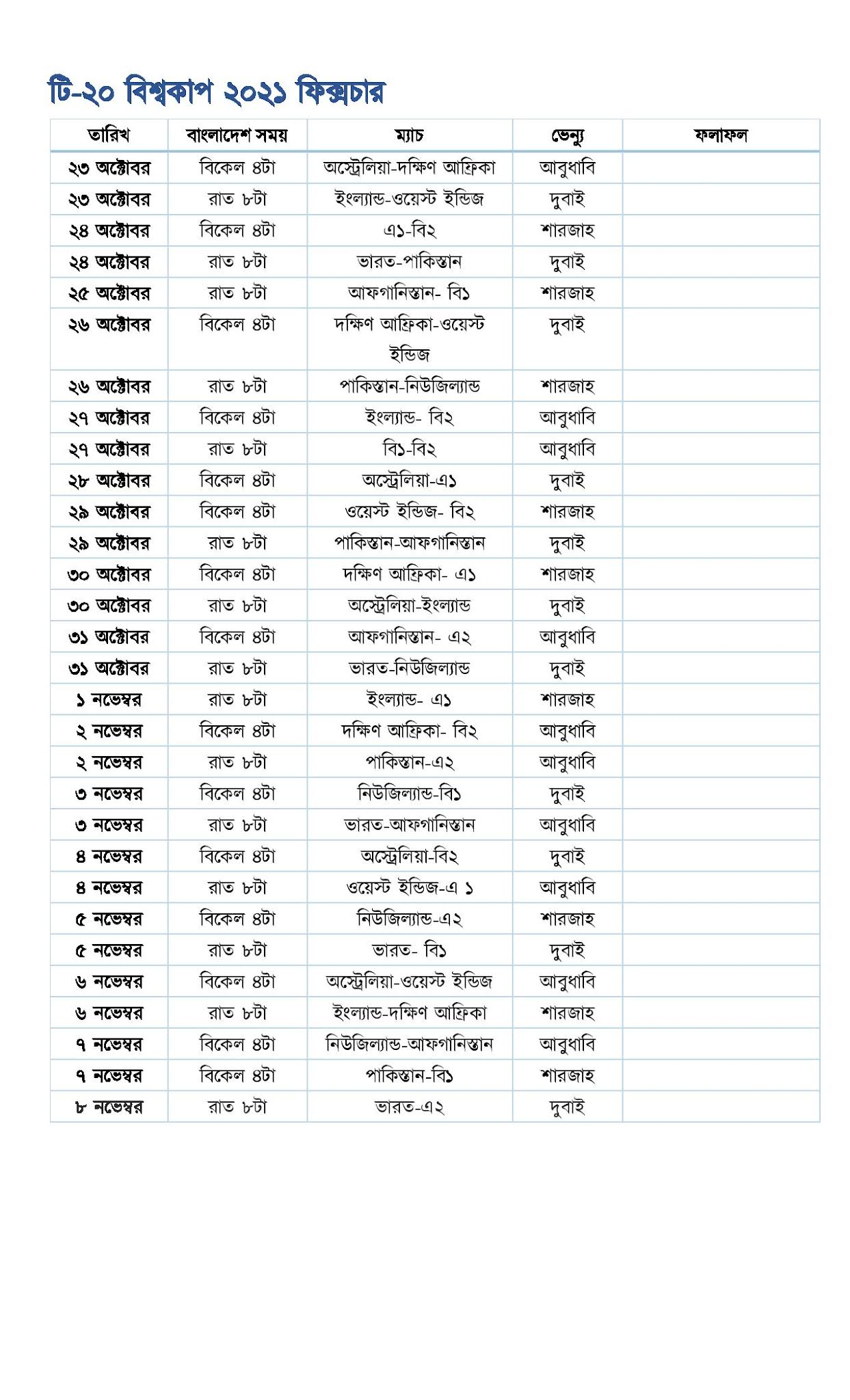 ICC T20 World Cup 2021 Fixtures PDF